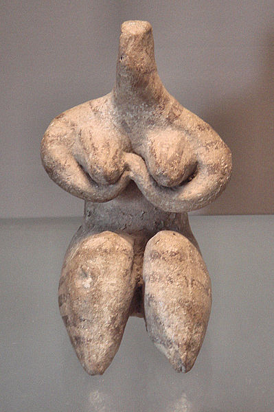 Stylized seated female figure with arms folded under her breasts, from Samarra, ca. 6000 BC