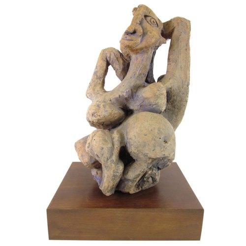 Mid-Century Modern Cubist Figural Nude Sculpture