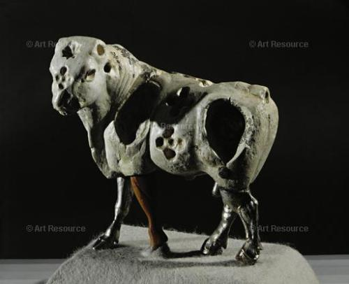 Bull,  Cattle, Early Dynastic Sumerian (3000-2340 BCE), Figurine, Limestone, Mesopotamian, Sculpture, Silver,