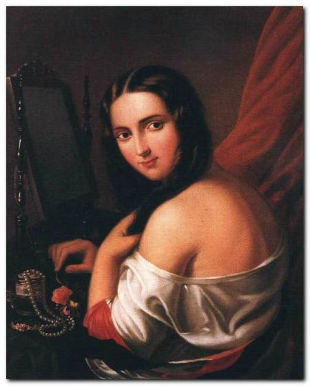 Woman Seated before a Mirror 1840s Oil on canvas, 77 x 60,5 cm Metská Galeria, Bratislava