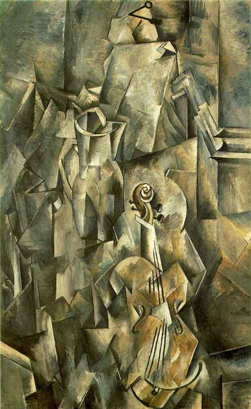 Artist: Georges Braque Artist's Lifespan: 1882-1963 Title: Still Life with Violin and Pitcher Date: 1909-10 Location of Origin: France Style: Analytic Cubism Genre: Still life