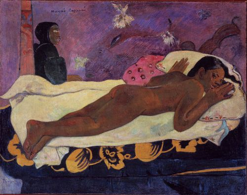 Artist [show]Paul Gauguin (1848–1903) Link back to Creator infobox template wikidata:Q37693 s:fr:Auteur:Paul Gauguin Title The Spirit of the Dead Keeps Watch Date 1892 Medium oil on burlap mounted on canvas Dimensions 72.4 × 92.4 cm (28.5 × 36.4 in) Current location [show]Albright-Knox Art Gallery Link back to Institution infobox template